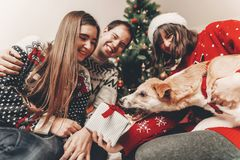 Happy family in stylish sweaters and cute dog having fun with gi. Fts at christmas tree with lights. atmospheric emotional moments. merry christmas and happy new Stock Photos