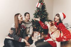 Happy family in stylish sweaters and cute funny dog exchanging g. Ifts at christmas tree with lights. emotional moments. merry christmas and happy new year Stock Photo