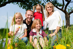 Happy family in summer Stock Image
