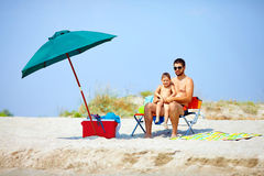 Happy family on summer beach Royalty Free Stock Photography