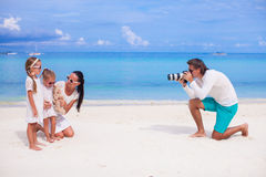 Happy family during summer beach vacation Stock Photography