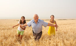 Happy family on summer countryside Stock Photos