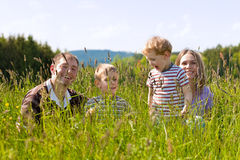 Happy family in summer outdoors Stock Photography