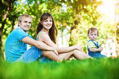 Happy family in the summer park. picnic Stock Images