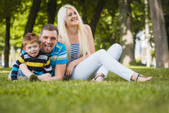 Happy family in the summer park Stock Image