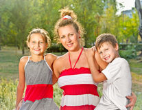 Happy family  In summer park Stock Photography