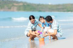 Free Happy Family Summer Sea  Beach Vacation. Asia Young people Lifestyle Travel Enjoy Fun And Relax In Holiday. T Royalty Free Stock Photo - 181900695