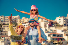 Happy family on summer vacation Stock Photos