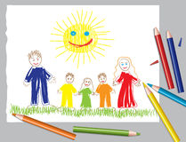 Happy family and the sun Stock Images