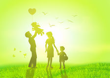 Happy family at  sunrise. Royalty Free Stock Images