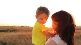 Happy family at sunset. stock video footage
