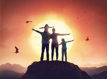 Family at sunset Royalty Free Stock Photos