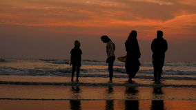 Happy family at sunset stock footage