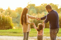 Happy family at sunset in the forest holding hands in a circle royalty free stock image