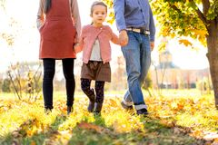 Happy family at sunset walking in the park in autumn royalty free stock photos