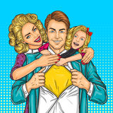 Happy family - super dad, mother and daughter vector illustration