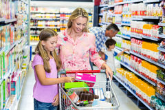 Happy family at the supermarket Royalty Free Stock Image