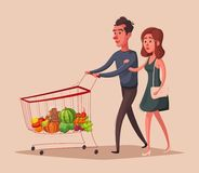 Happy family with supermarket shopping cart. Cartoon vector illustration. Self-service full shopping trolley vector illustration