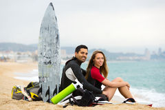 Happy family with surf boards Stock Images