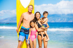 Happy Family with Surfboards Stock Photography