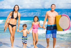 Happy Family with Surfboards Royalty Free Stock Photos