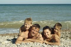 Happy family swim Stock Photo
