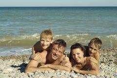 Happy family swim Stock Photo
