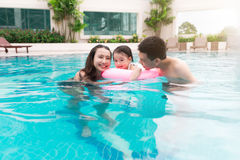 Happy family in swimming pool. Summer holidays and vacation conc. Ept Stock Photography