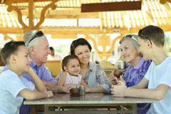 Happy family at table Royalty Free Stock Image