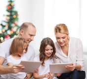 Happy family with tablet pc computers Royalty Free Stock Photography