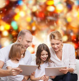 Happy family with tablet pc computers Stock Photos