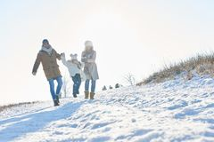 Happy family takes a walk in the snow Stock Image