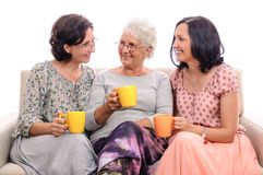 Happy family talking senior mother and adult daughters Stock Image