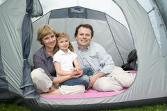 Happy family in tent Royalty Free Stock Images