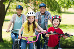 Happy family on their bike at the park royalty free stock images