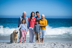 Happy family with their dog at the beach Stock Images