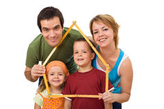 Happy family with their kids - real estate concept Stock Images