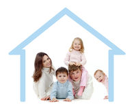 Happy family in their own home concept Stock Photos