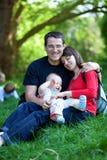 Happy family of three stock photography