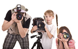 Happy family with three camera. Stock Images