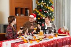 Happy family of three generations celebrating New Year Royalty Free Stock Photos