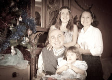 Happy family of three generations with  Christmas tree Stock Photography
