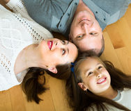 Happy family of three at home Royalty Free Stock Images
