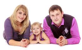 Happy family of three Stock Images