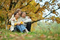 Happy family of three on the nature. Stock Photography