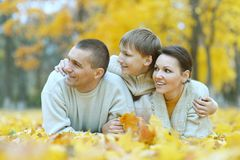 Happy family of three on the naturer Stock Photo