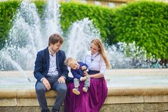 Happy family of three in Paris Royalty Free Stock Photo