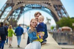 Happy family of three in Paris Royalty Free Stock Photo