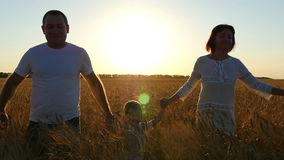 Happy family of three people running around the field at sunset. stock footage