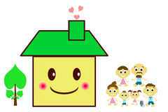 Happy family on a threshold of their house Royalty Free Stock Image